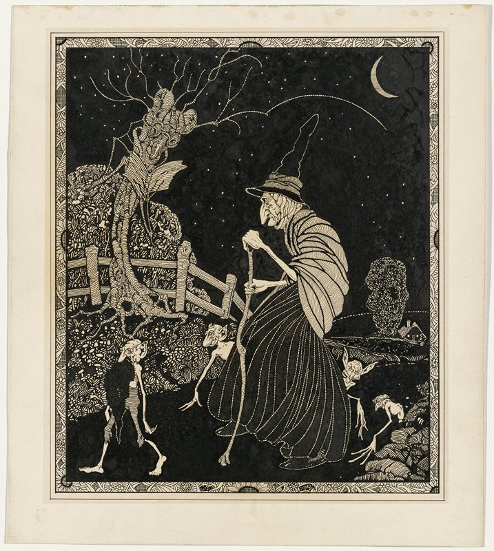 stooped old witch, in profile from PL, walking with a crooked tall cane; witch wears pointed hat and shawl; personified tree reading a book at left; witch is accompanied by four demon figures; night landscape with crescent moon, URC; floral border