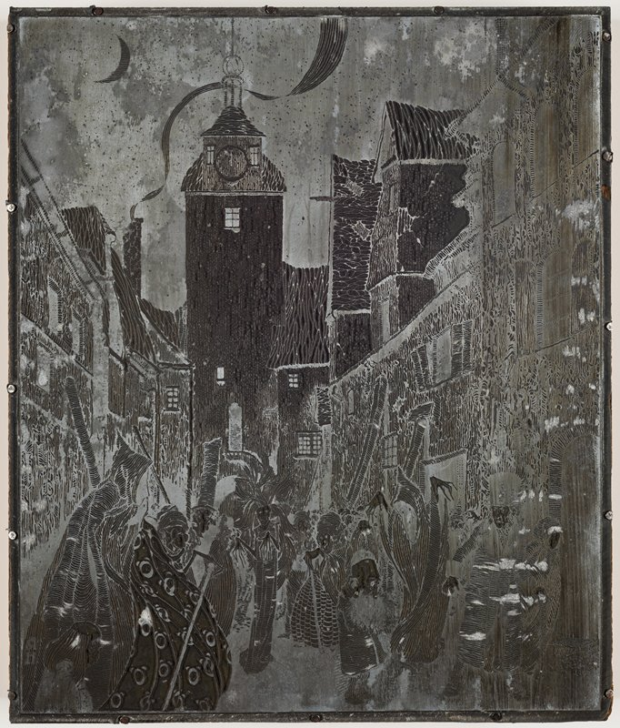 zinc plate for printing attached to wooden block; image of couple in LRC, with woman in hooded cloak and man in top hat and overcoat with walking stick, on a narrow street at night, surrounded by ghostly figures and fantastic people; night sky with crescent moon, ULC, with stars; smoke from chimney in ULQ