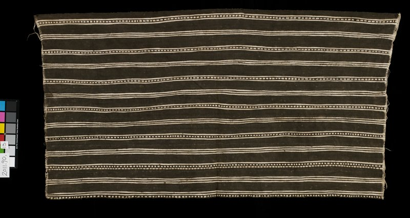 striped brown and white; 7 panels deisgn: wide brown stripe, narrow brown and white stripe, brown stripe, white stripe with brown squares