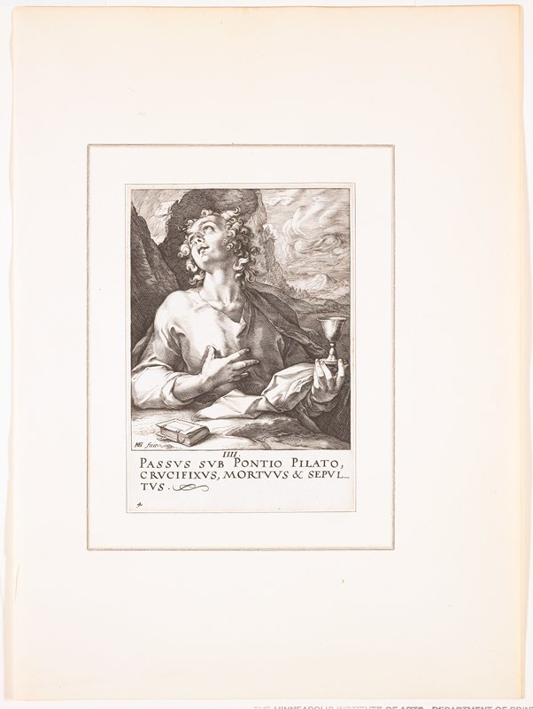 """man with long, curly hair, looking up to PR, with foreshortened facial features; PR hand on chest, PL hand holds a chalice by the foot; small book on table before figure; mountian landscape with swirling clouds in background; text at bottom: """"IIII. / PASSUS SUB PONTIO PILATO, / CRUCIFIXUS, MORTUUS & SEPUL- / TUS."""""""