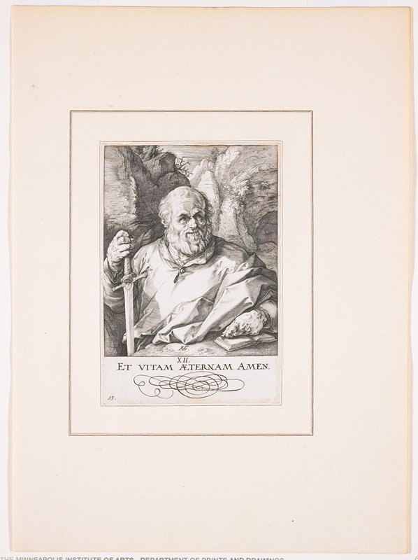 """balding older man with wavy beard, resting on hilt of a sword in his PR hand and his PL hand on a small book; text at bottom: """"XII. / ET VITAM AETERNAM AMEN."""""""