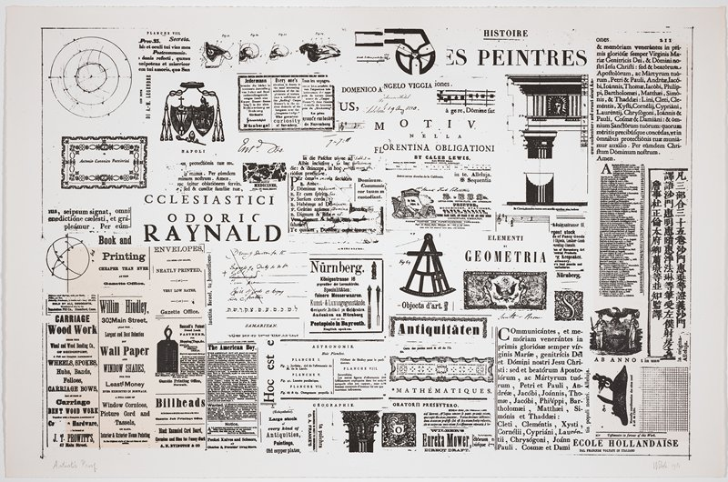 various small sections of letterpress printing in various languages and various type fonts; some diagrams (column and cornice sections in URQ, four diagrams of various skulls at top URQ) and illustrations (column capital at bottom center, certificate with eagle in LRQ); some small sections of handwritten text in various languages; vertical section of three lines of Asian text at right; yellowed rectangles in LLC and at left edge (probably inherent, but may be damage to sheet?)