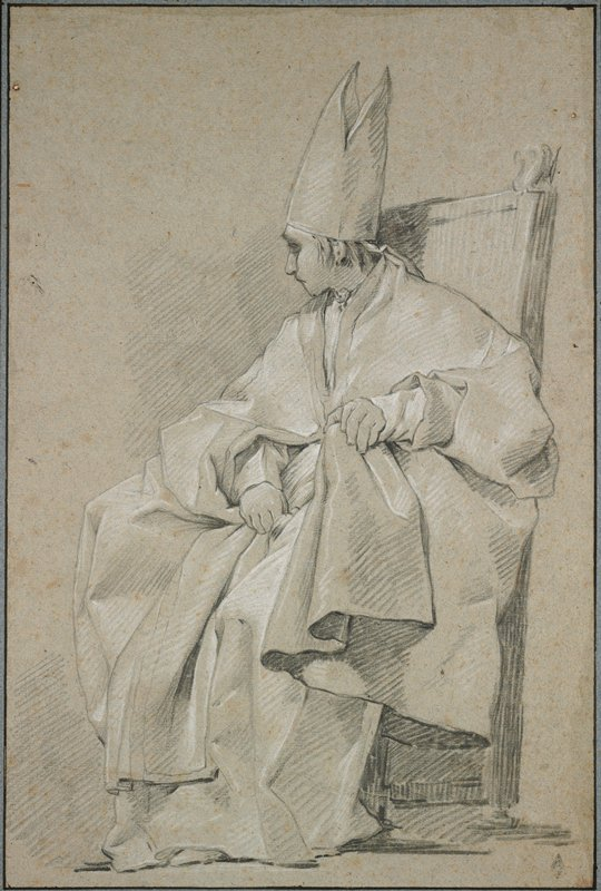seated figure in a high-backed chair, seen in profile from PL, wearing voluminous robes and bishop's hat; head turned toward PR; mounted on heavy blue paper