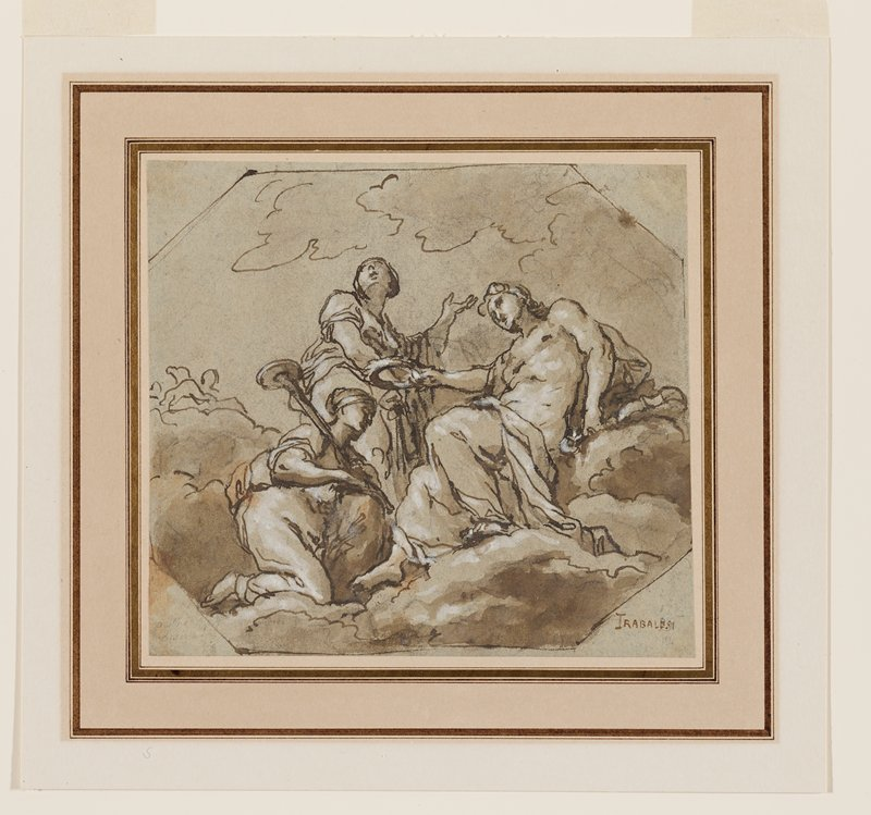 three figures on a cloud; figure at left kneels; figure at right crowns kneeling figure; third figure in back raises PL hand; squared-off corners