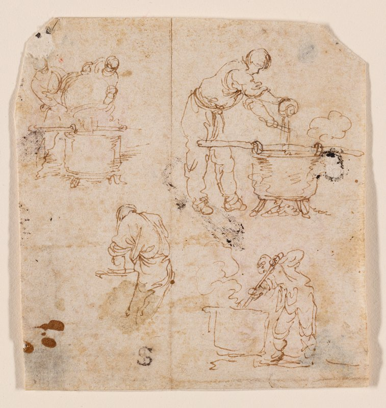 four tiny sketches; clockwise from ULC: two men pouring from one large vessel into another, man pouring from a small vessel into a large one while pouring over a utensil, man stirring a large vessel, man seen from back slightly bent over with PL hand in a vessel