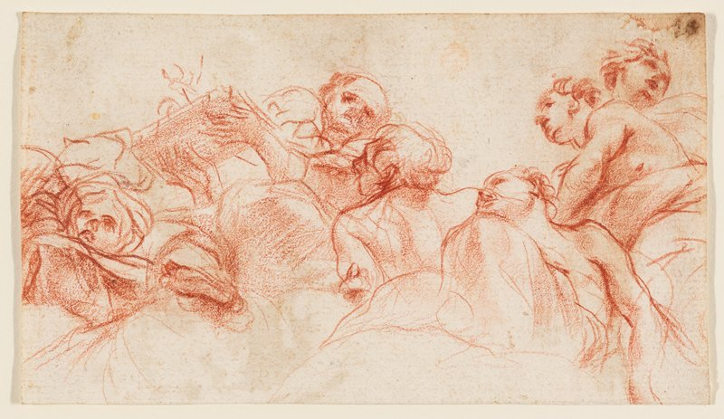 recto: upper bodies of figures, seen from low viewpoint; one figure holds a flat object (book or tray?) with both hands on bottom of object, at left; verso not examined--received framed