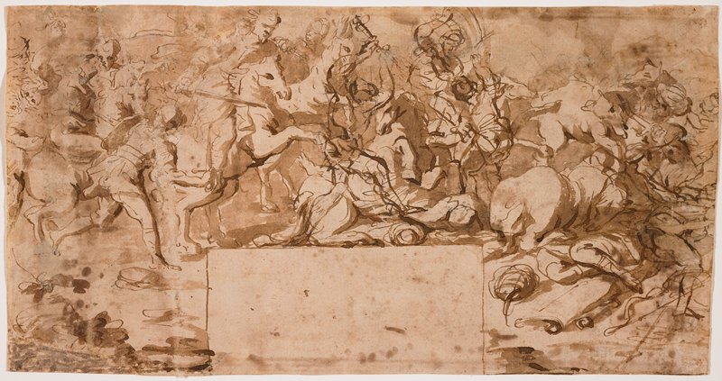 crowded, busy scene of horses and men fighting; empty, blank rectangle at bottom center