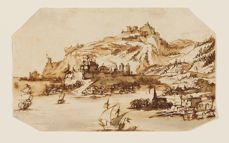 water in foreground with sailing ships; mountains at center and right with some buildings; corners clipped