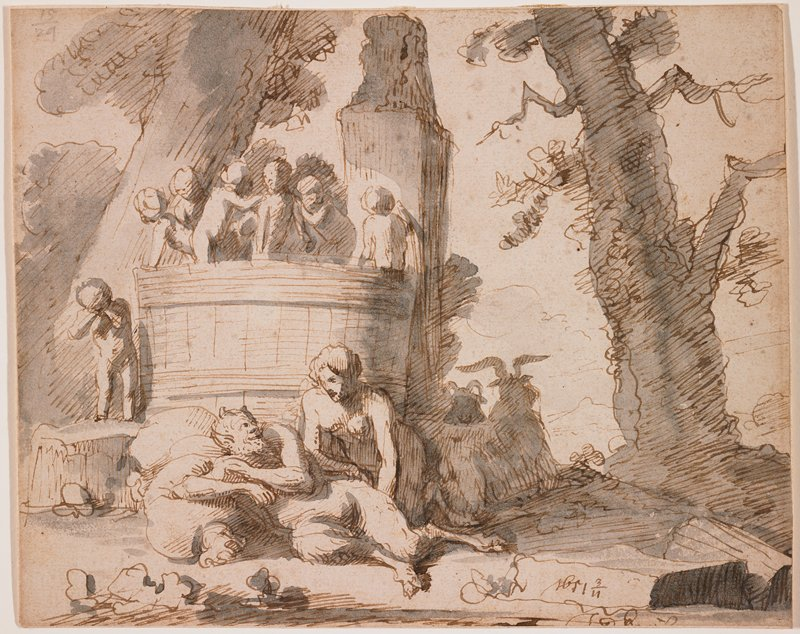 landscape scene with male and female satyrs in foreground at left; putti atop a structure behind foreground figures, with one putti standing on rock at left, rubbing his eyes; tree at right