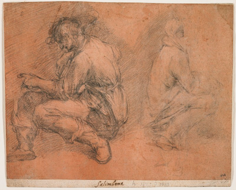 two crouching men, back to back; right sketch light and unfinished; man at left wears belted tunic and pants
