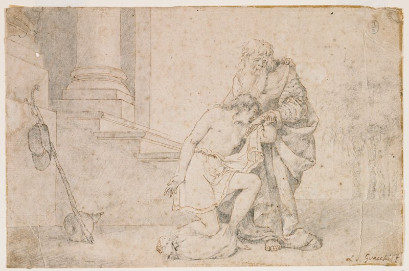 young man wearing skirtlike garment kneeling on a sack, kissing the hand of a standing old man with long white hair and beard; architectural elements (column and steps) at left; lightly-penciled trees at right