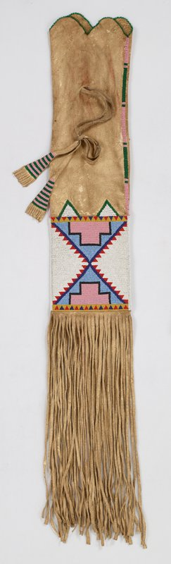 long rectangular bag with long fringe on one end; pair of fringed ties on one side beaded with alternating rows of green and pink beads at ends in triangular formation; large beaded rectangles on each side of bag--star-like shape in blue, red and white beads on green ground on one side--pair of white step-edged triangles with tiny red triangles and pair of blue triangles with black-edged pink T-shapes in center on other side