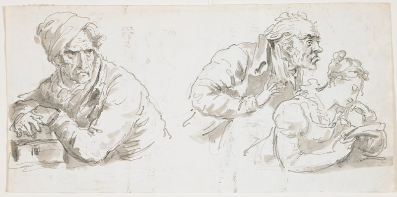 at left: half-length portrait of frowning man, bent forward on books (?); man wears a cap tilted to PR; at right: half-length figure of a woman resting her chin on her PL hand, reading a letter held in her PR hand, while an old man with a frowning face peers over her shoulder