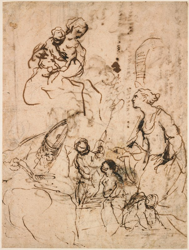 recto: Mary holding Christ child, both looking down, in ULC; St. Catherine at right in LRQ; man in bishop's hat reading, LLQ; three small figures (cherubs?) and lower center; verso: sketch of seated woman with text in Italian