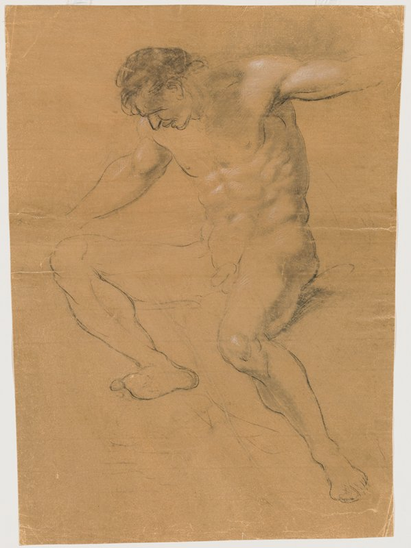 recto: seated nude male figure with legs apart; PR knee higher than PL knee; arms out, with hands not differentiated; head bent slightly downward; torso well differentiated; verso: arm holding staff and line indicating side of body