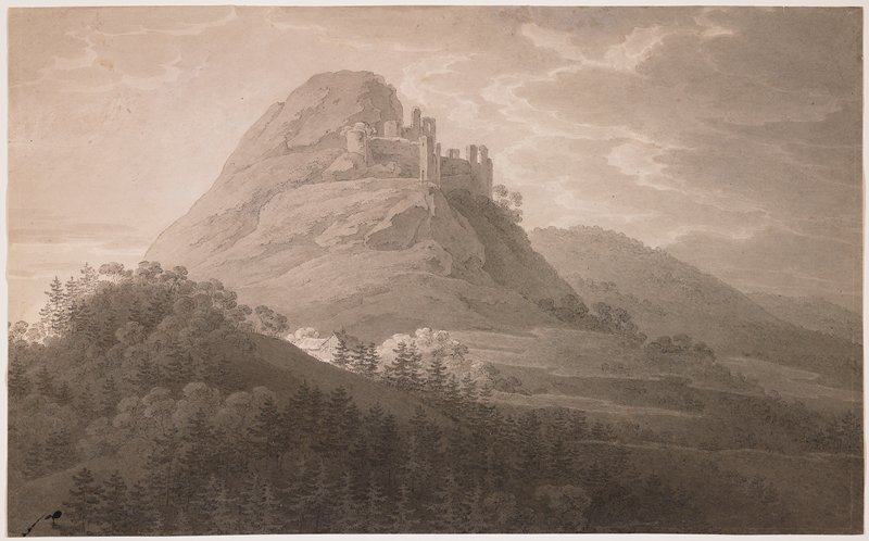 landscape in mountains; building ruins near top of mountain at center; small cottage in middleground center; trees scattered throughout; cloudy sky; light pencil sketch of trees, verso