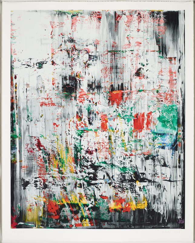 abstract image; black-and-white vertical painterly marks throughout ground; painterly touches of color--predominately green, red and yellow