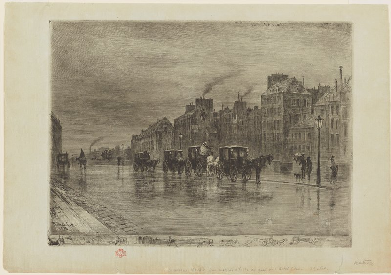 four carriages--two with drivers sitting on benches on front exterior of carriages--next to a city sidewalk in the rain; buildings beyond; three figures on sidewalk--one with an umbrella accompanied by a dog; band at bottom below image has sketchy tiny images of buildings, carriages, woman's boots and dog