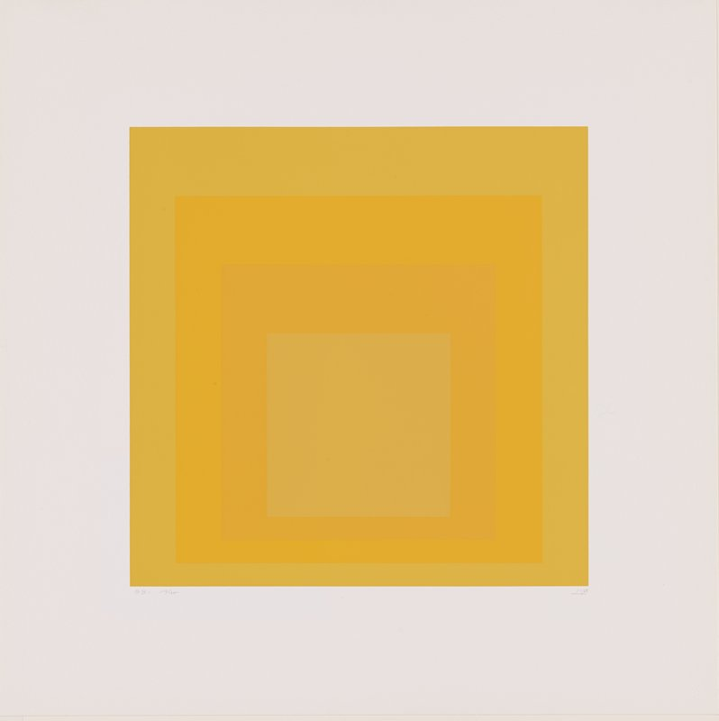 four squares on top of each other, in shades of yellow