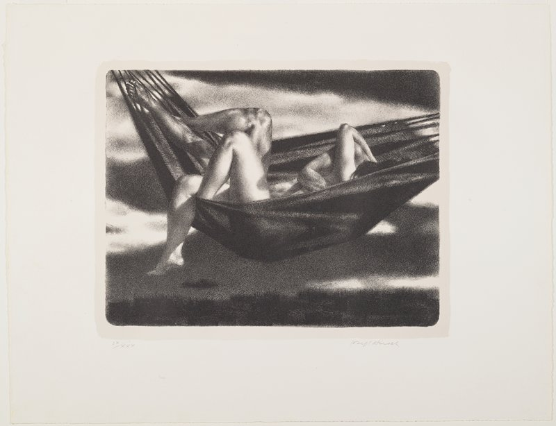 man and woman embracing in a hammock, with their bare legs, one of man's arms and one of woman's arms, small portion of side of man's body and woman's hair the only visible body parts
