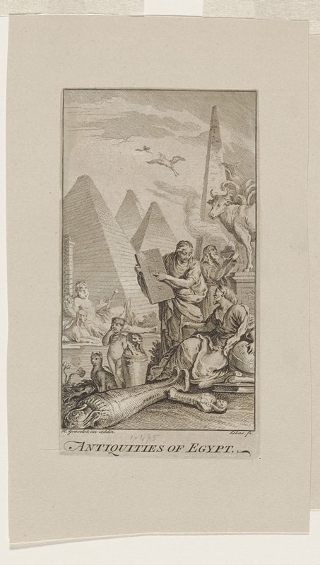four pyramids in background; man in center holding tablet; man reclining in front; two mummy cases on ground LL; cat, child and sphinx shaped container behind; below pyramids a reclining man with beard and scepter; flying horse upper right; goat on rock center right; man below rock holding smoking vessel
