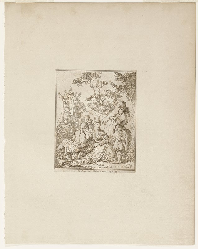 three seated figures, two men and a woman; standing male figure playing horn shape instrument; in a landscape with trees at right and right background; draperies(?) over tree in center back