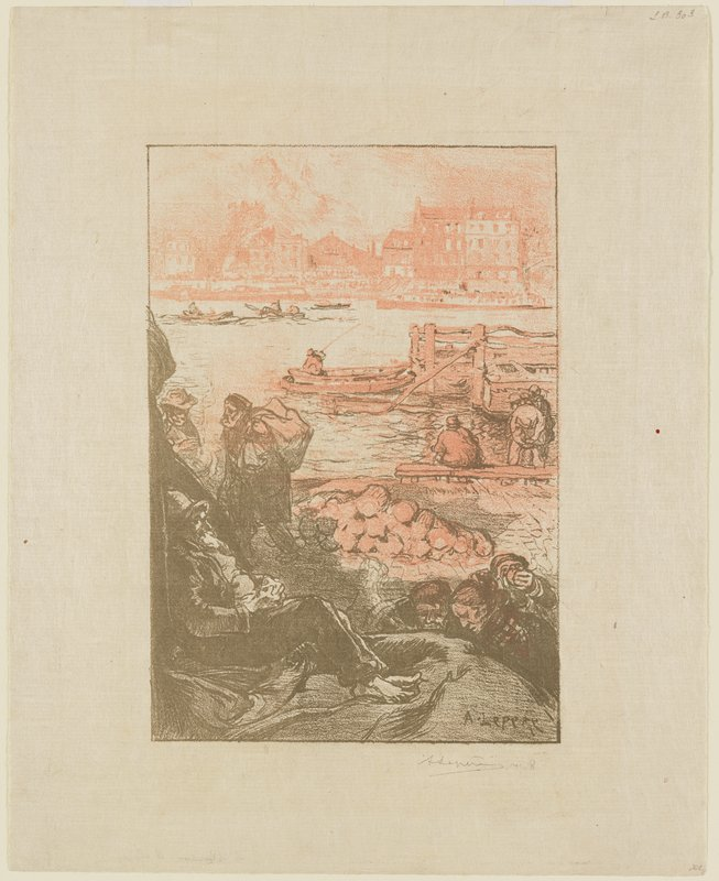 reclining man, LLC; other figures below him, LRC; dock with boats in background; buildings on opposite shore; two figures, including man with sack on his back, at left; printed in khaki green and salmon