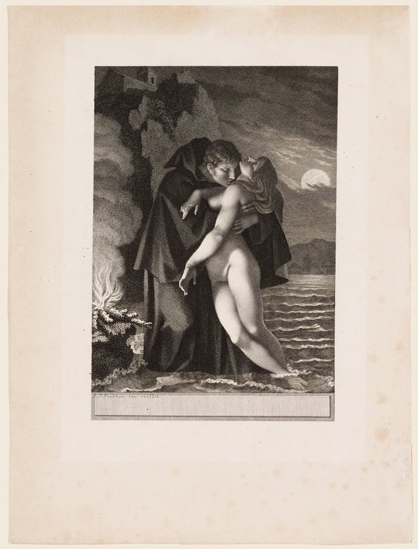 man in hooded cloak embracing and kissing a limp nude woman whose feet dangle in water; fire at left; building on top of cliff, ULC; moon partially hidden by clouds, URQ; woman's abdomen exposed