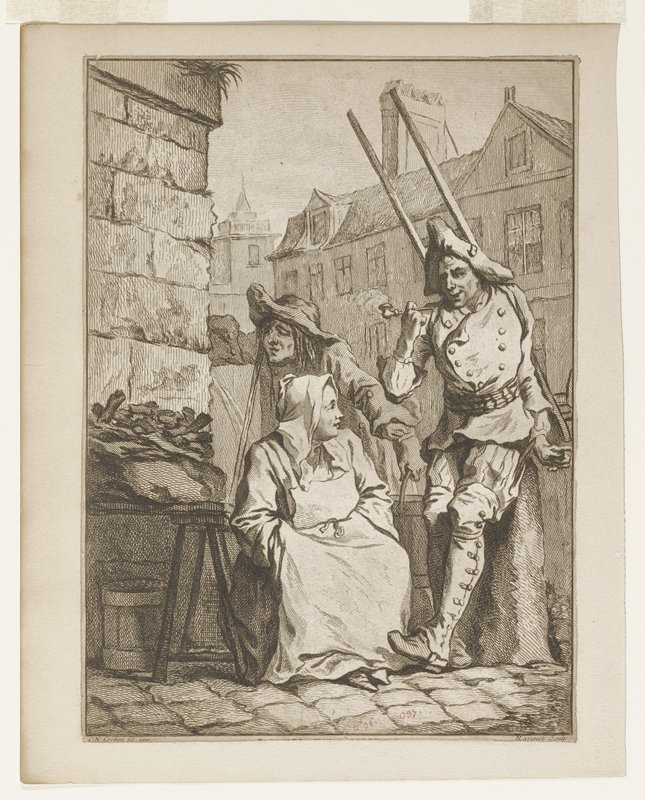 three figures in a village street; man standing at right holding a pipe; woman wearing apron, seated in center; woman behind seated woman carrying a bucket