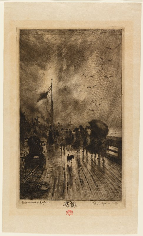 figures walking on a slick dock in the rain; figures at far right carry umbrella; flag on tall flagpole, left center; flying birds, URQ; large chain and pulley, LLQ