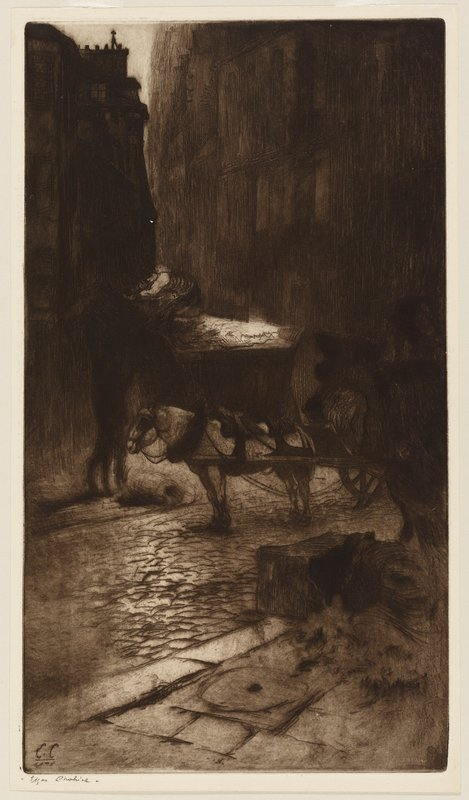 dark image in dark brown; street scene with white horse at center harnessed to wagon; shadowy figure at left lifting object over his head to a figure in another wagon behind horse