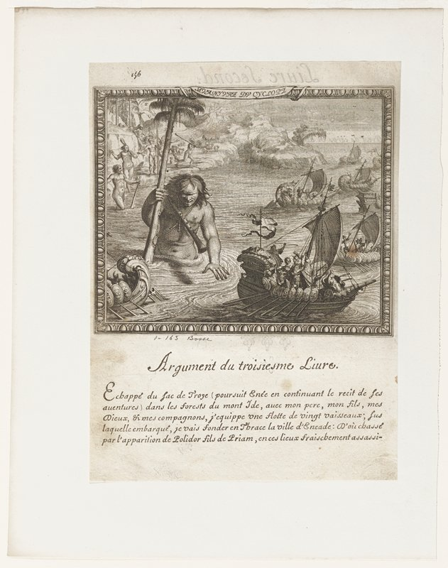 fleet of sailing ships approaching shore; Cyclops in water carrying palm tree; nude figures on shore with clubs