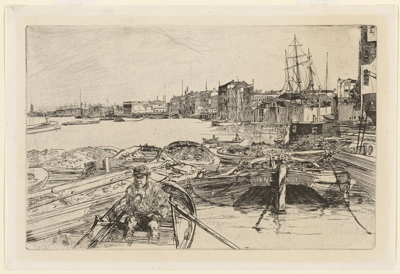 man seated in rowboat in foreground, LLQ; boats clustered together in foreground; buildings in background on opposite shore; masts of tall ship, ULQ