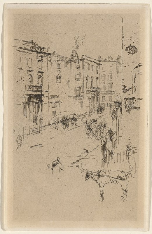 street view with horse on wagon hitch, LRC; carriage near center; some pedestrians; buildings; sketchy style