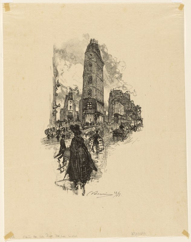 figure in black cloak and large black hat, seen from back, in foreground at left; carriages on road at right; many pedestrians on street in middle ground; buildings in background