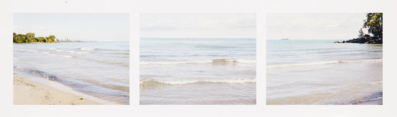 three images printed on one sheet; left image: sandy on beach, LLC; small waves on water; view of Chicago skyline in distance at horizon line; trees at left on horizon line; center image: small waves on water; right image: water with boat on horizon line at left; trees on small peninsula in ULC