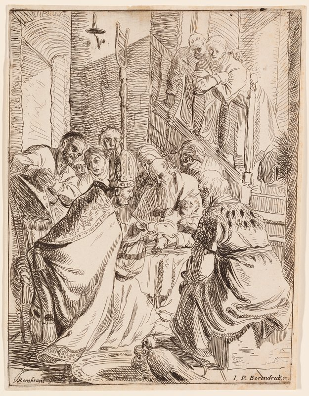 baby being held by an old man with a long beard at center; baby being circumcised by a clergyman in hat and stole; seated figures surround baby; two figures standing on stairs looking down at scene from URQ