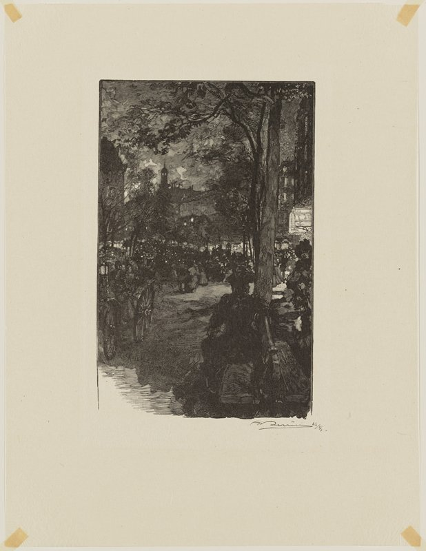 night scene; tree at left middle ground; carriages and pedestrians; buildings in background center