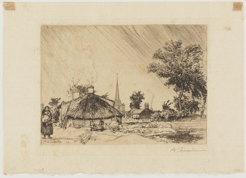 woman with baby at left; thatch-roofed building left of center; cottage at right in background; spire of building at center background; tree at left