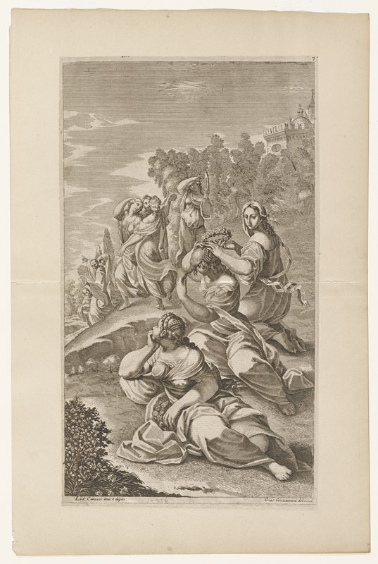 group of three women reclining in foreground; group of three women dancing center middle ground; woman carrying jug next to dancing women; group of three figures left center, one gesturing left and anotherwith covered head pointing right; building with dome on hill right background