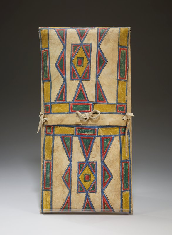 abstract design painted on front with yellow, blue, red, and green pigments; three leather ties securing container at center