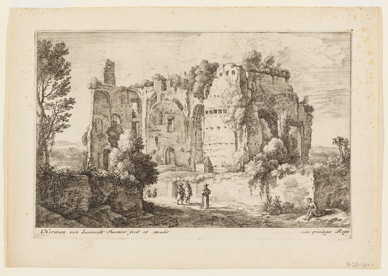 cardinal walks below large ruin while reading a book; four men follow; beggar seated at lower right