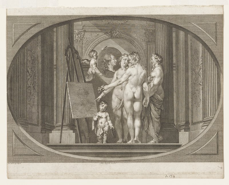 three female nudes and two putti in an oval frame; one putti holding a portrait and the second at lower left holding a pallet and brush in front of partially executed portrait