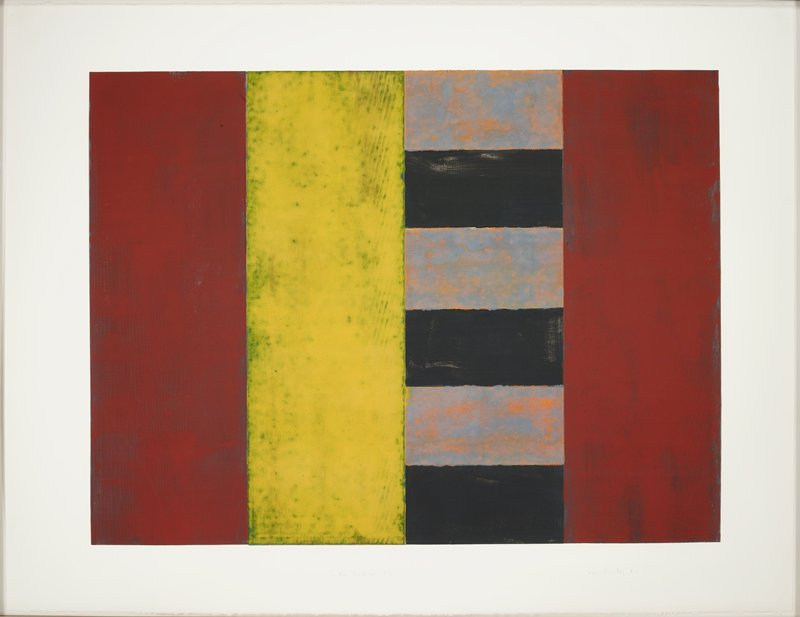 abstract image; four vertical rectangles, from left: rust red, mottled yellow, black and grey-orange horizontal stripes, rust red