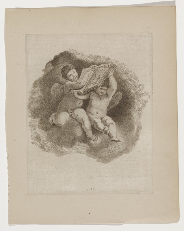 """cherubs holding a large book titled """"Amusemts of Cap't Will Baillie""""; upper cherub pointing to artist's monogram with left hand"""