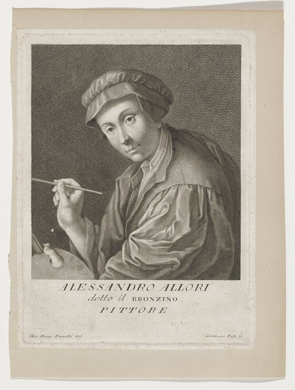 3/4 view waist up portrait of Alessandro Allori; holding artists pallet in proper left hand, brush in right hand; wearing smock and cap