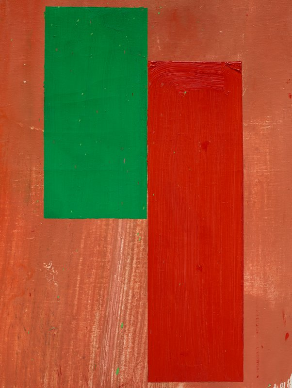 abstract painting with dark salmon ground with two rectangles, green on the L and red on the R; blue and red splatter up R edge