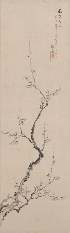 crooked, delicate branch with white blossoms entering at L almost vertically upward
