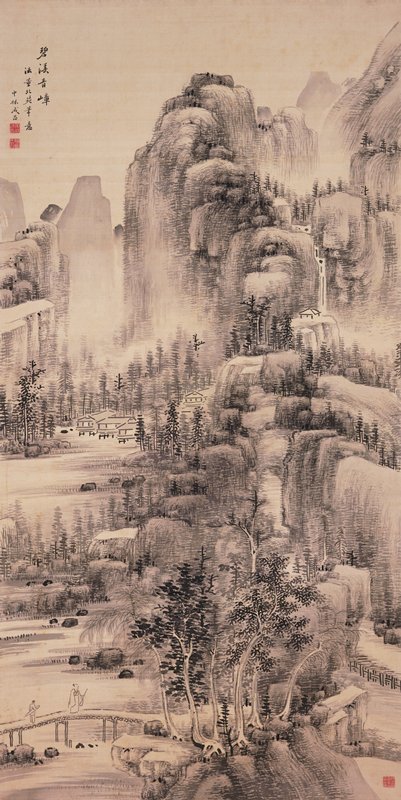 large stepped mountains with boulders, pines, and waterfall at back; small open pavilion on flat topped rock just below waterfall; pathway ascending lower stepped rock formation at center; a few houses on stilts in water at L center, surrounded by pines; two figures cross bridge at LL