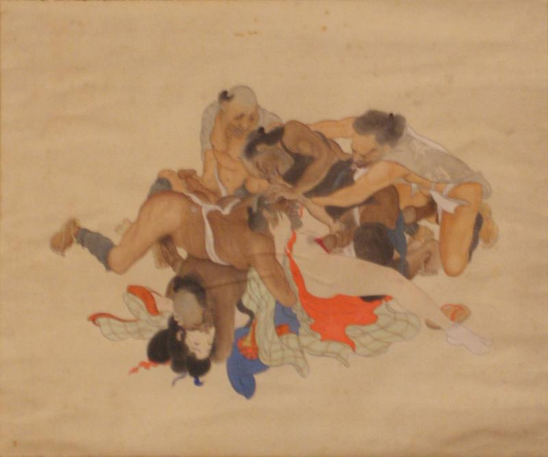 five men with exaggerated phalluses wrestling over each other in an attempt to rape a woman lying on the ground